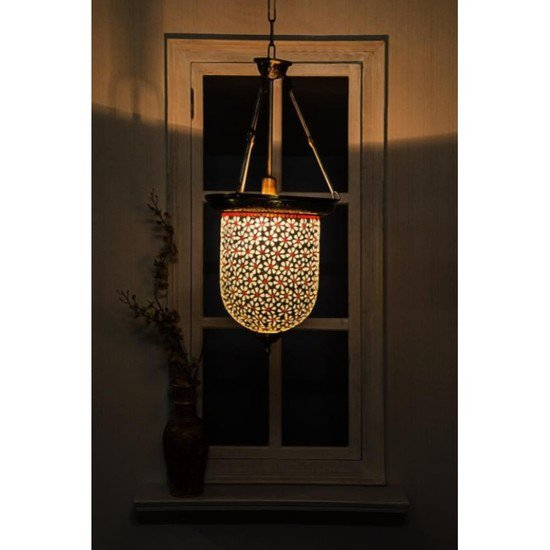 Brass multicolour glass bell jar hanging4