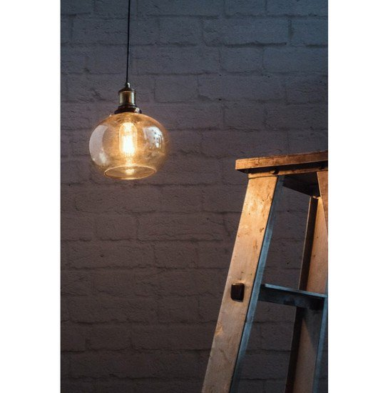 Contemporary lustrous glass bowl hanging light