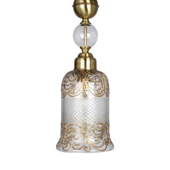 Cut glass handpainted jar pendant light1