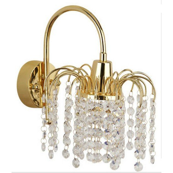 Golden fountain crystal wall light