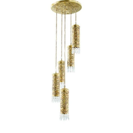 Hand carved brass   crystal mini cylinder set of 5 hanging light1