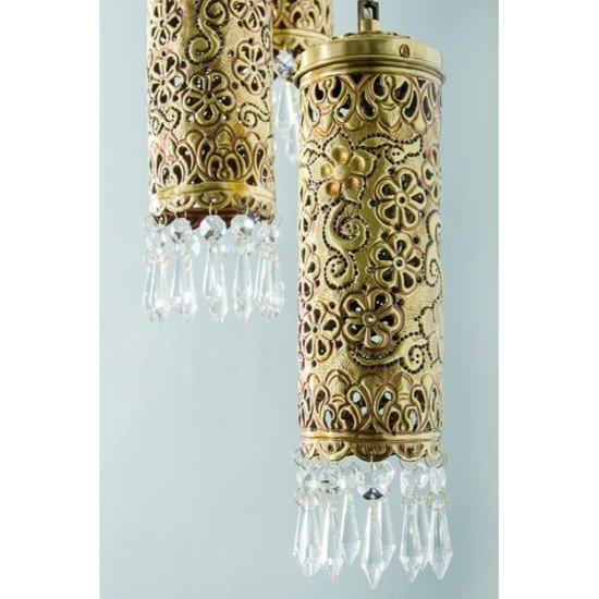 Hand carved brass   crystal mini cylinder set of 5 hanging light2
