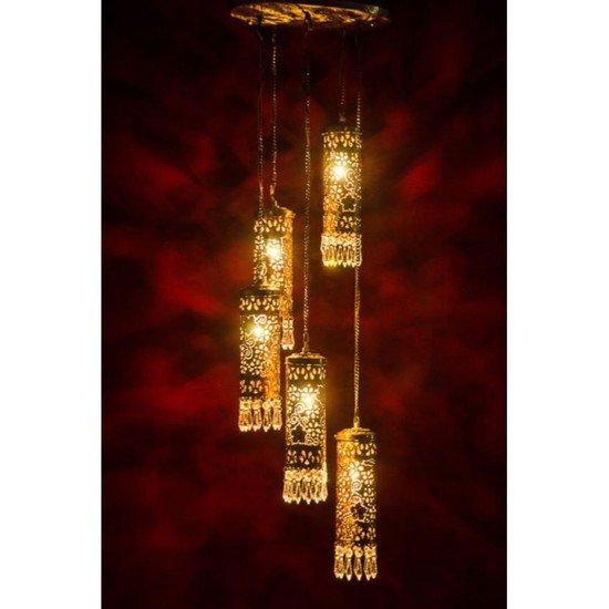 Hand carved brass   crystal mini cylinder set of 5 hanging light