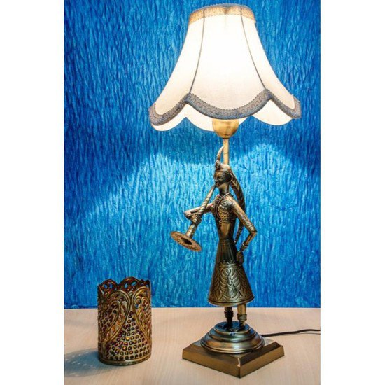 Hand crafted brass indian village style bed side lamp
