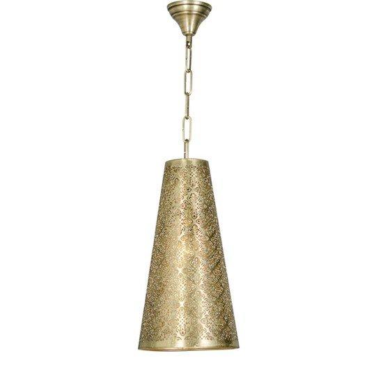 Surreal etched antique gold hanging light