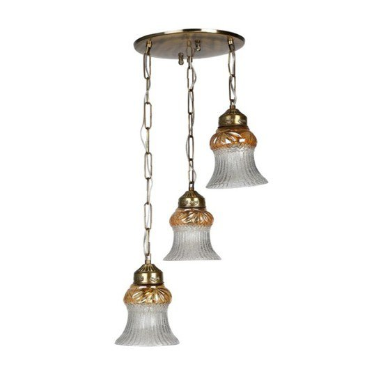 Triple lustrous antique brass hanging light2