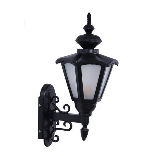 Umbrella ornate black outdoor wall sconce