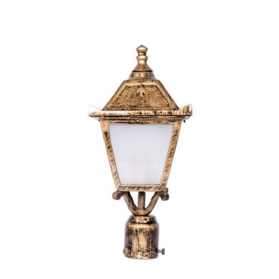 Vintage antique golden small outdoor pole light gate light1