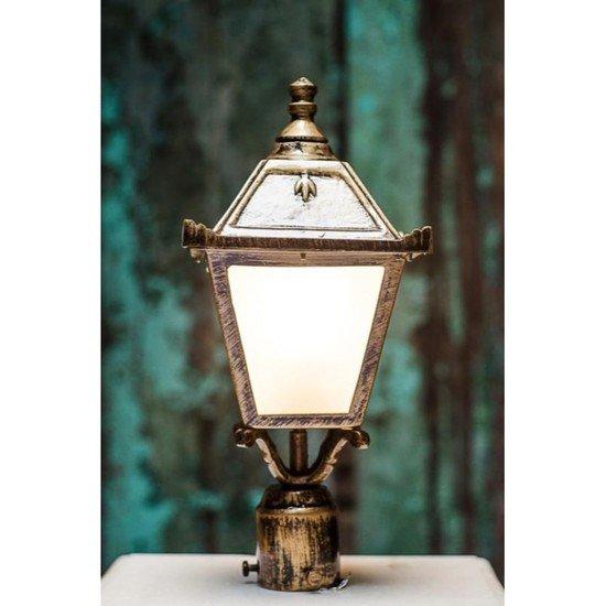Vintage antique golden small outdoor pole light gate light3