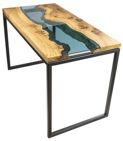 Elm & BlueGlass River Desk