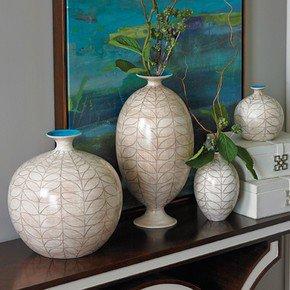Brushed Leaf Round Vase-Lg