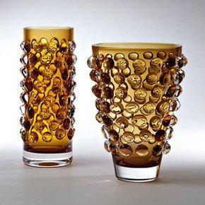 Bubble Cylinder Vase-Amber