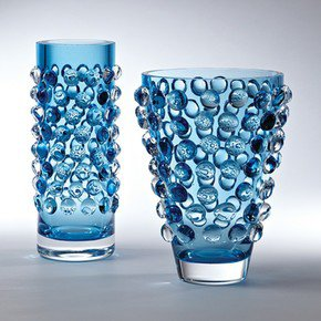 Bubble Cylinder Vase-Cobalt
