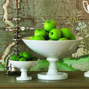 White Grand Pedestal Bowl-Lg