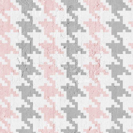 Pink   grey pied de poule wallpaper mineheart treniq 1 1553975446443