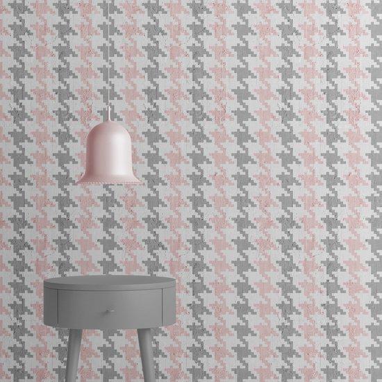 Pink   grey pied de poule wallpaper mineheart treniq 1 1553975446447