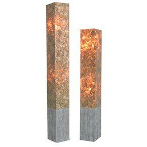 Cora Modif Square Standing Lamp W/Capiz 2,5X4 Silver W/Twig Teak Based