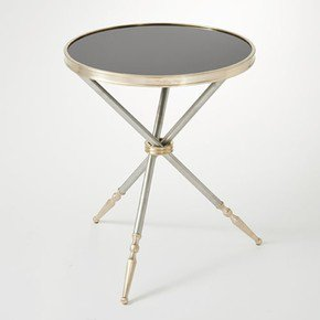 Campaign Side Table-Black Granite
