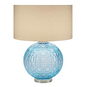 Aqua glass with brushed nickel table lamp and shade