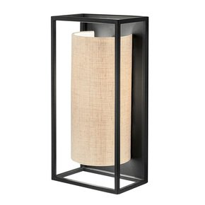 Black rectangular wall light with semi-cylinder shade