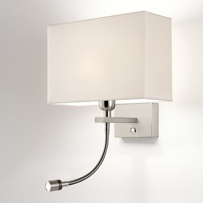 Brushed nickel wall light with LED reading light