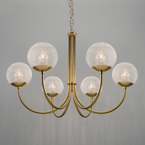 Oxford brushed brass 6 arm opal globes pendant light