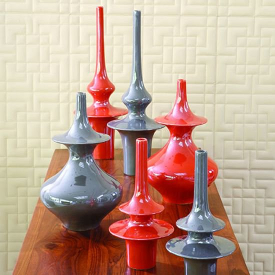 1932  minaret vase orange lg