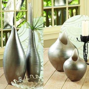 Platinum Stripe Vase-Med