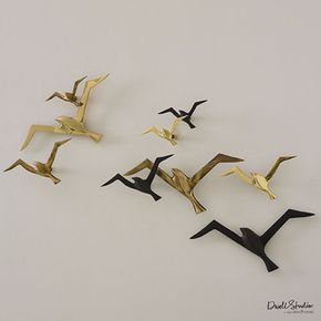 S/3 Metallic Flock Wall Decor-Brass