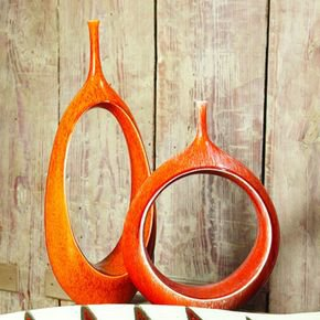 Open Ring Vase-Orange