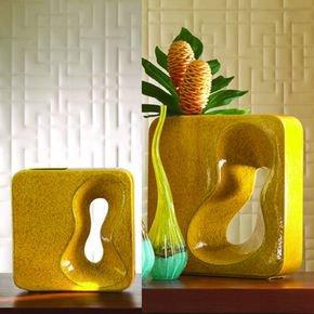 Square Amoeba Vase-Yellow-Lg
