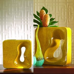 Square Amoeba Vase-Yellow-Sm