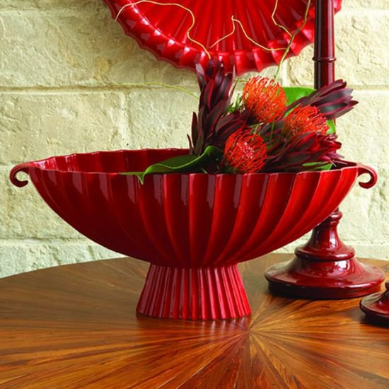 1661  fluted oval compote red
