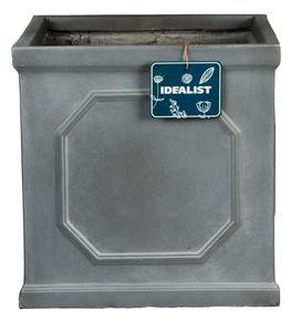 Faux Lead Chelsea Box Square Grey Light Stone Planter64880