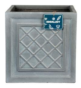 Faux Lead Lattice Box Square Grey Light Stone Planter 64926
