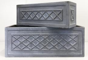 Window Box Faux Lead Lattice Grey Light Stone Planter 64933