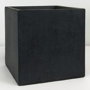 Square Box Contemporary Faux Lead Light Concrete Planter71854