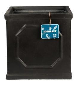 Faux Lead Chelsea Box Square Dark Grey Light Stone Planter72045