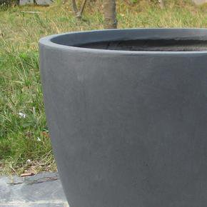 Contemporary Dark Grey Washed Light Concrete Egg Planter74681