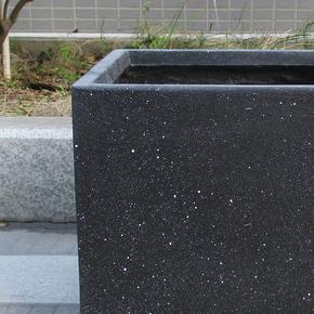 Square Box Contemporary Black Marble Light Concrete Planter74682
