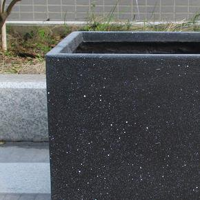 Square Box Contemporary Black Marble Light Concrete Planter74684
