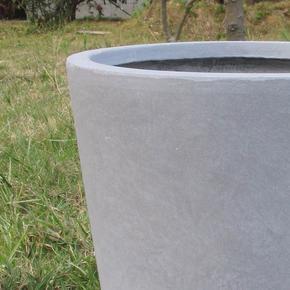Contemporary Round Vase Stone Grey Light Concrete Planter74688