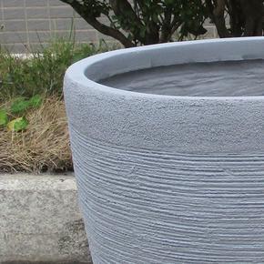 Ribbed Stone Grey Light Concrete Egg Planter74689