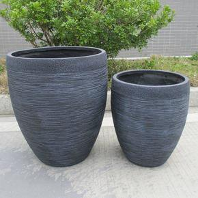 Ribbed Black Light Concrete Egg Planter74692