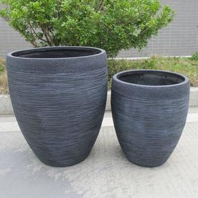 Ribbed Black Light Concrete Egg Planter74693