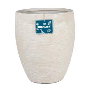 Ribbed Beige Light Concrete Vase Planter74696