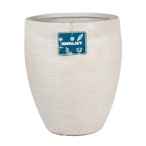 Ribbed Beige Light Concrete Vase Planter74696