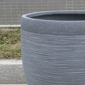Ribbed Stone Grey Light Concrete Vase Planter74698