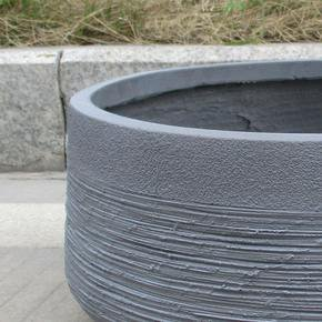 Ribbed Stone Grey Light Concrete Bowl Planter74703