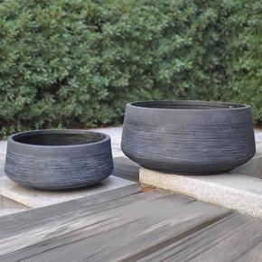 Ribbed Black Light Concrete Bowl Planter74705